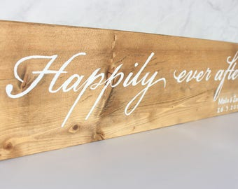 Happily Ever After Wooden Personalized Wedding Sign Gift, Wedding Date Wood Sign, Personalized Wooden Gift, Custom Wood Sign, Wood Sign