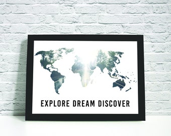 Explore, Dream, Discover  Instant Downloadable Printable Art, Printable Wall Art