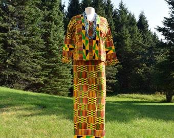 Ankara, African print, suit, wrap skirt,