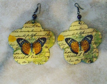 Beautiful, Large, Lightweight, Decoupage Earrings