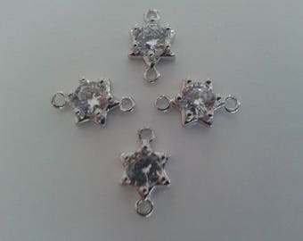 Set of 4 spacers / connectors set with Crystal and silver plated