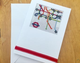 Hand-stitched London Underground Tube Map Card [with free, optional personalised message]