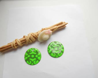 x 2 sequins enamelled 20 mm Green and neon green