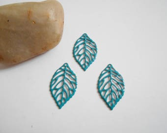 set of 6 prints turquoise enameled leaves