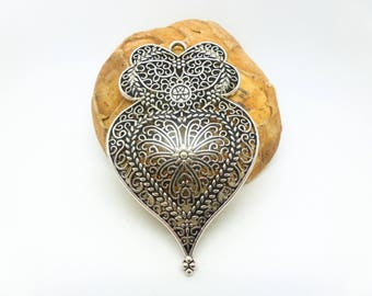 1 pendant worked heart style Art Deco 58 * 37mm (XBA10)