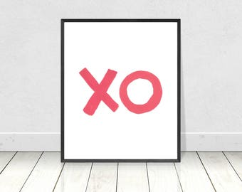 Pink XO print, Printable art, kiss wall decor, love print, pink XO typography poster, Scandinavian style, minimalist art print, XO decor