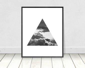 Cloud Art Print, Scandinavian Print, PRINTABLE Art, Minimalist Art,Triangle Print,Black White,Scandinavian Poster,Home Decor,Wall Art,Clouds