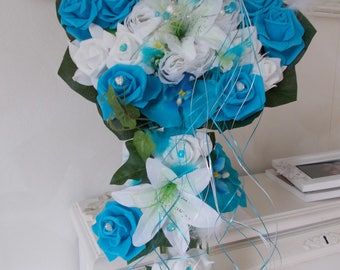 bouquet de mariée artificiel turquoise