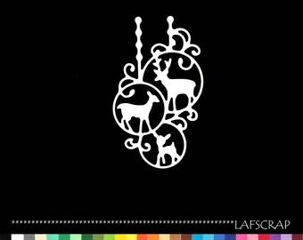 1 cut scrapbooking ball Christmas Reindeer DOE Fawn animal cutout paper decoration die cut embellishment