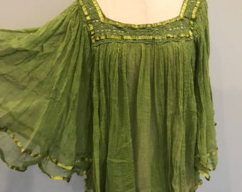 50s Mexican cheese cloth top