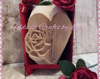 3D book art of rose and heart.Stunning dark red decoration.