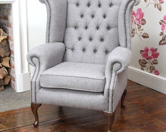 queen anne high back wing chair in light grey fabric