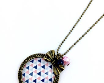 Bronze necklace * cabochon * triangles * bow bronze * pearls * pink