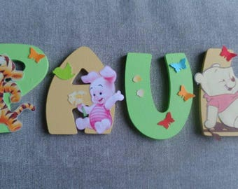 Child name 8cm - themed Winnie wood letter