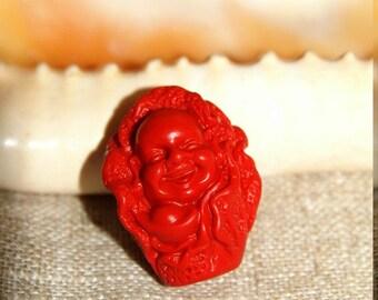 Natural red cinnabar Buddha pendant
