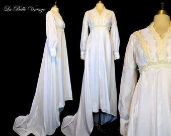Vintage Velvet Wedding Dress S ~ 70s I MAGNIN Renaissance Gown ~ Guipure Lace