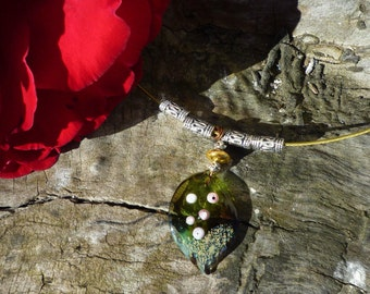 Leaf lampwork handmade Lampwork Glass and Tibetan silver Bead Necklace