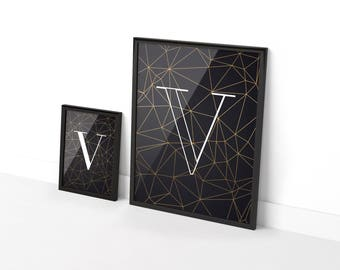 Two posters original White geometric background black and gold