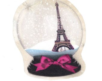 Used for sewing or craft: snow globe Paris Eiffel Tower France pink bow