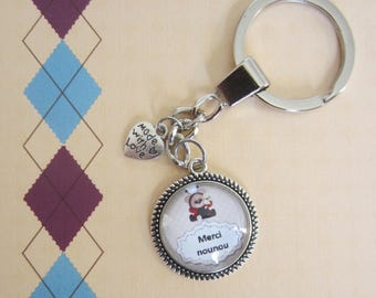 "Gift for nanny /assistante kindergarten: ""Thank you nanny"" keychain"