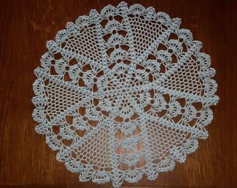 Handmade lace doily lace crochet, 35 cm, pastel blue