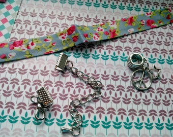 Kit to make a bracelet in shades of grey liberty rose charm with love and star silver metal with adjustable clasp