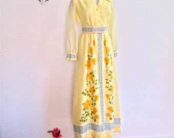 M 60s 70s Shaheen Maxi Dress Long Gown Mid Century Mod Sheer Yellow Floral Hostess Hawaii Dress Medium