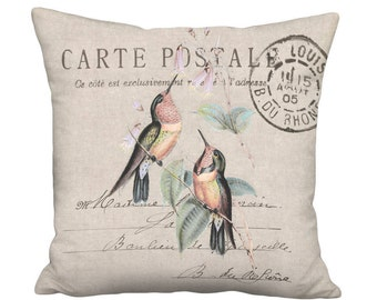Small Pillow Cover - Pillow - Hummingbirds on Beige French Cottage Farmhouse - 12x12 or 14x14 Inch