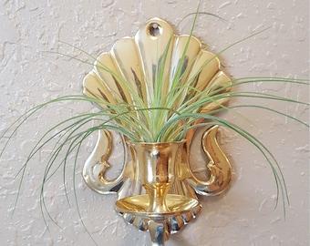 Set of 2 vintage brass art deco sconces.  Vintage brass sconces.  Shiny brass wall candleholders