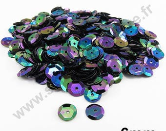 Sequin curved sequin - Black Pearl - 6mm - x 400pcs