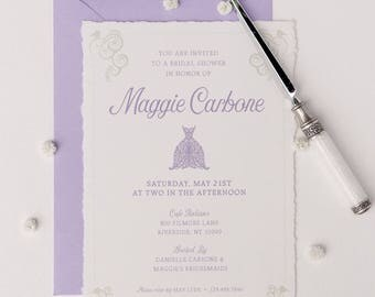 elegant lavender and sage bridal shower invitation
