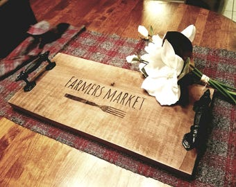 Rustic serving tray - kitchen decor - farmers market wood burned custom wood rectangle tray