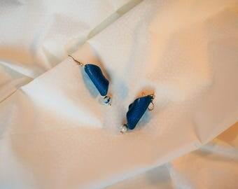Stud Earrings blue green teal silver hook and glass bead, 3d, relief, women gift, designer earrings dangle earrings