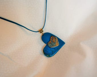 woman Blue Gold double heart pendant necklace turquoise marbling, heart necklace, blue necklace gold, romantic jewelry, women gift