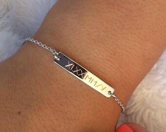 Custom Bar Bracelet Roman numeral, Bridesmaid Gift, Personalized Bar Bracelet, Roman Numeral Bracelet, Wedding Date Bracelet, Engraved roman