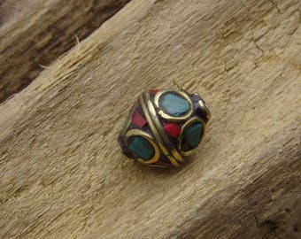 Nepalese coral and turquoise bicone bead 13mm bicone
