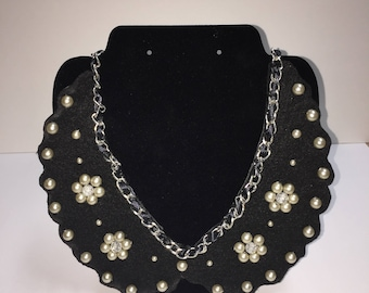 Black Bib necklace with chain