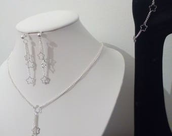 Silver Flower set: earrings, bracelet and necklace ideal Valentine's day gift or birthday