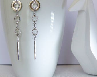 Circle, stainless steel, Crystal, minimalist earrings