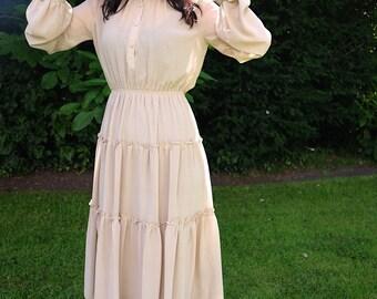 Elevint Japanese Beige Maxi Chiffon Dress Bishop Sleeves
