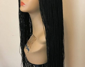 Fully Braided lace front senegalese long twist box Braids Wig in different colors