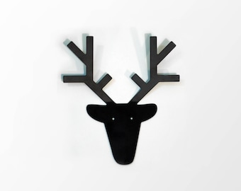 Deer head hanger, scandinavian decor, keys holder , keys hook, modern deer, modern deer art, metal animal, kids room decor, home decor
