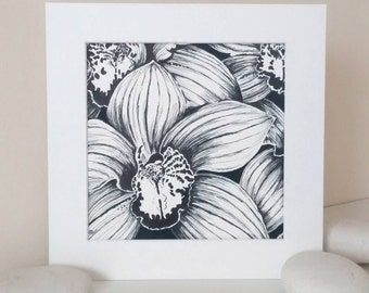 Orchid artwork, black and white artwork, orchid sketch, black and white sketch, flower artwork, sketch of orchids, original artwork,