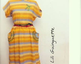 VINTAGE striped dress and crochet pockets