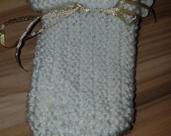 Cute white knit gift card bag