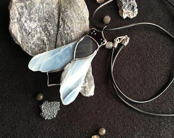 Stained glass pendant ~ Fly ~ Tiffany technique ~ Original design ~ Stylish Jewelry ~ Art Glass ~ Handmade