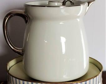 Aluminnite Frugier, pot à lait argenté anti-monte lait, anti-débordement, pichet chauffe lait, Limoges France