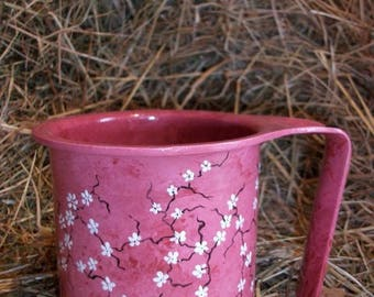 Vintage - paint on metal very ancient custom cream - pink and white flowers