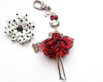 Silver plated bag charm, articulated doll, red and black leopard organza