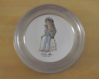 Large plate pewter and porcelain from LIMOGES, old PARIS trades, 95% pewter banding decoration gift collection!